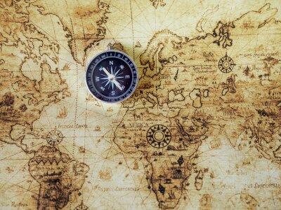 Papiers peints Compass sur la carte vintage. Style rétro.