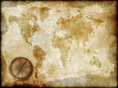 Papiers peints compass with vintage map