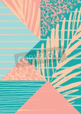 Papiers peints Composition abstrait d'été avec texture vintage et éléments géométriques dessinés à la main. Modèle vectoriel pour affiche, couverture, conception de carte et autres utilisateurs.