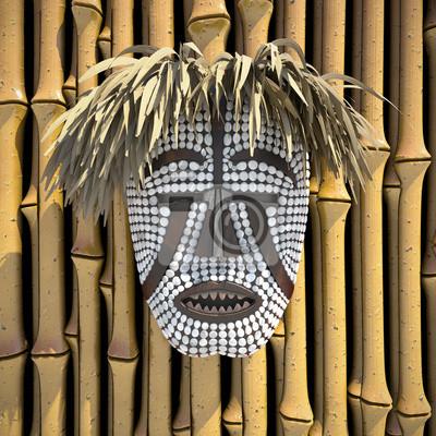 composition avec l'Afrique woyo masque 3d illustrés
