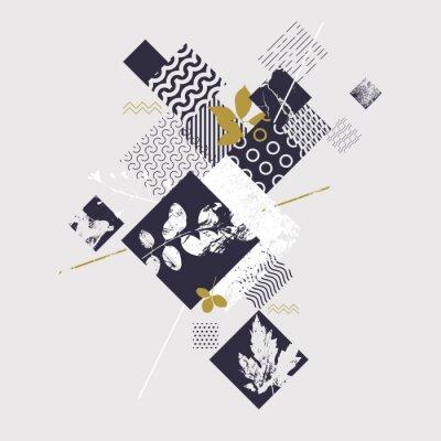 Papiers peints Composition géométrique abstraite avec des éléments botaniques