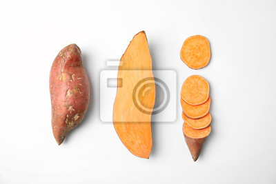 Papiers peints Composition with sweet potatoes on white background, top view