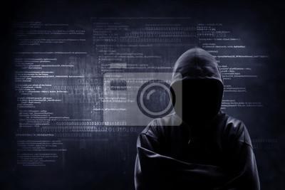 Papiers peints Concept de crime sur Internet. Hacker travaille sur un code sur fond numérique sombre avec une interface numérique autour.