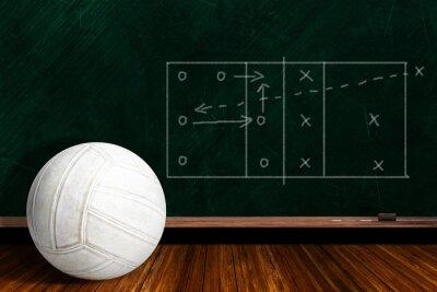 Papiers peints Concept de jeu avec la stratégie de jeu de volley-ball et de Chalk Board