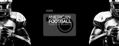 Papiers peints Concept de sport. Joueur de sport de football américain sur fond noir avec copie. Concept de sport.