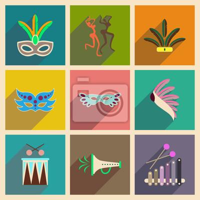 Papiers peints Concept, plat, icônes, long, ombre