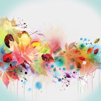 Conception d'automne floral, peinture à l'aquarelle