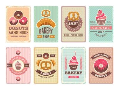 Papiers peints Conception de cartes de boulangerie. Beignets de petits gâteaux d'aliments sucrés frais et autres illustrations de produits de cuisson pour menu vectoriel vintage dans un style rétro. Carte de menu et