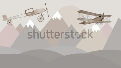 Papiers peints Conception de papier peint pour chambre d'enfants montagnes et biplans