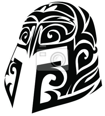 Conception de tatouage de casque stylisé