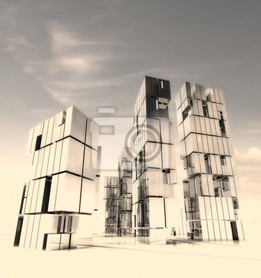 conception de ville de gratte-ciel dans le désert tempête de sable illustration