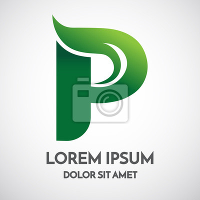 Papiers peints: Conception écologique de modèle de logo de lettre p