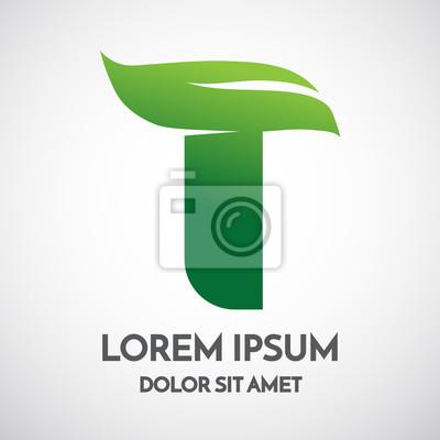 Conception écologique verte de modèle de logo de lettre t papier ...