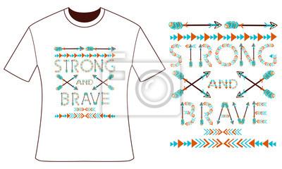 Conception pour votre t-shirt. Plumes et flèches. Style boho. Illustration vectorielle dessinée à la main.
