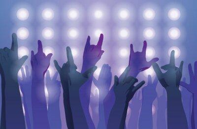 Papiers peints Concert de rock. Les mains en l'air.
