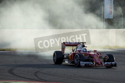 Papiers peints Conducteur Sebastian Vettel. Ferrari. Journées d'essai de Formule 1 au Circuit de Catalunya. Montmelo, Espagne. 2 mars 2016
