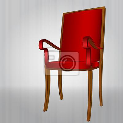confortable fauteuil rouge vue en perspective de vecteur