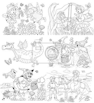 Conte De Fee Livre De Coloriage Coloriage Personnages Dessines Papier Peint Papiers Peints Conte De Fees Dragon Sorcier Myloview Fr