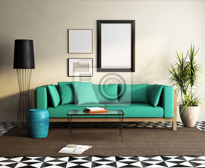 Papiers Peints Contemporain élégant Canapé Vert, Frais Salon Marocain