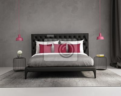 Contemporain élégant rouge de luxe et la chambre grise papier peint ...