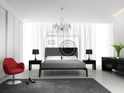 Papiers peints: Contemporaine élégante chambre blanche noir avec tapis