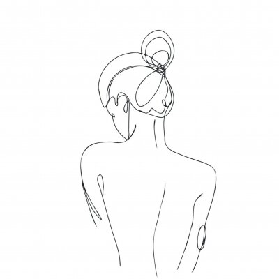 Papiers peints Continuous line drawing. Woman body. Vector Illustration for spa, tshirt, nails, poster