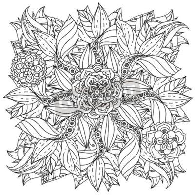 Papiers Peints Contourné Mandala Forme Fleurs Adulte Coloriage Livre