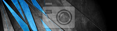 Papiers peints Contrast blue and grey stripes. Abstract grunge tech banner design. Old wall concrete texture background. Vector illustration