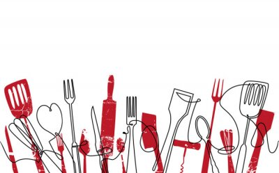 Papiers peints Cooking Seamless Pattern. Outline Cutlery Background. Trendy One Line Drawing.  Isolated Kitchen Utensils. Cooking Design Poster. Vector illustration.