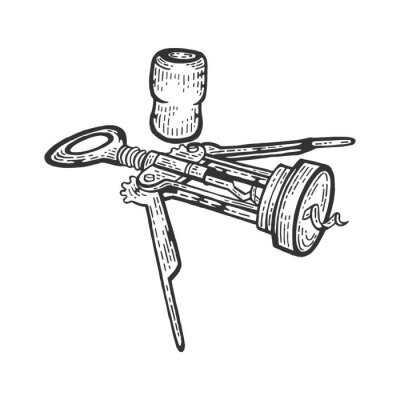Corkscrew and wine cork sketch engraving vector illustration. Scratch board style imitation. Black and white hand drawn image.