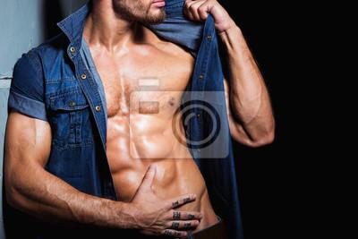 Homme Sexy PeintsCorps Jeune En Et De Papiers Jeans Musclé Chemise 8n0wNvm