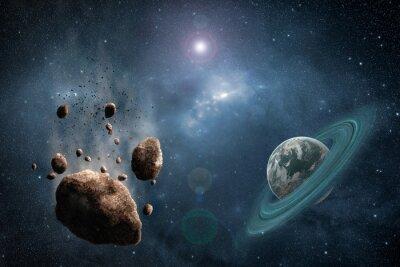 Papiers peints Cosmos, scène, astéroïde, planète, nébuleuse, espace