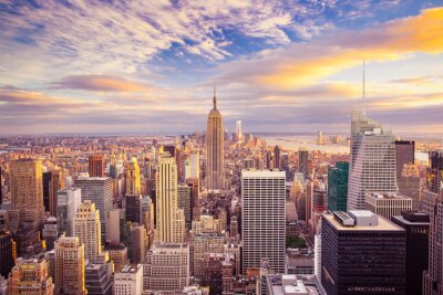 Papiers peints Coucher de soleil vue de New York City à la recherche sur Manhattan