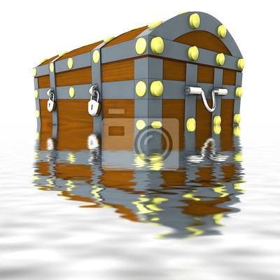 coulé coffre en métal de bois avec le trésor de la moitié dans l'eau