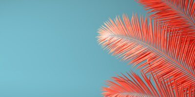 Papiers peints Couleur corail vivante de l'année 2019. Fond avec palme de couleur tendance