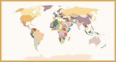 Papiers peints Couleurs antiques détaillées de carte du monde politique aveugle
