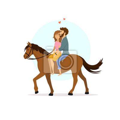 Couple De Dessin Anime Romantique Mignon En Amour Equitation Papier