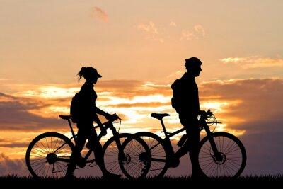 Papiers peints Couple, vélo, Coucher soleil