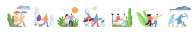 Papiers peints Couple walking in seasons. Autumn walk with umbrella, outdoor various weather. Rainy day, winter sport people. Summer heat season utter vector set