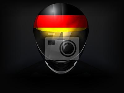 Coureur allemand avec le drapeau sur le vecteur de casque gros plan