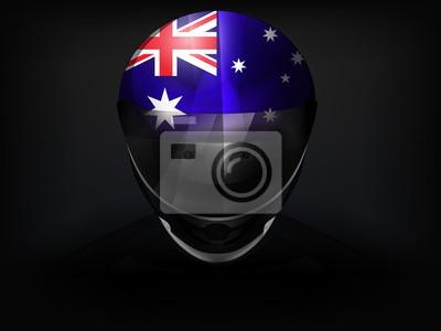 Coureur australien avec le drapeau sur le vecteur de casque gros plan