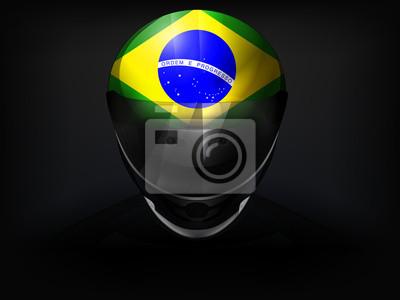 Coureur brésilien avec le drapeau sur le vecteur de casque gros plan