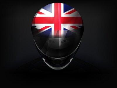 Coureur britannique avec le drapeau sur le vecteur de casque gros plan