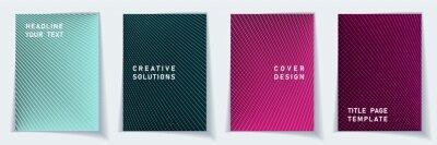 Papiers peints Cover page simple layout vector design set. Halftone lines grid background patterns.