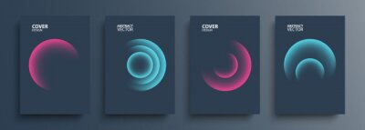 Papiers peints Cover templates set with vibrant gradient round shapes. Futuristic abstract backgrounds with glossy sphere for your creative graphic design. Vector illustration.