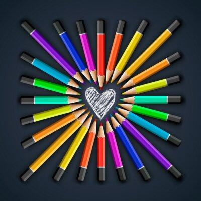 Papiers peints Crayons de couleur, forme de coeur, vecteur eps10.