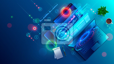 Papiers peints Creating software and website for different digital platform desktop pc, laptop, tablet, mobile phone. Development, design and coding web and offline app. Designing interface and code of programs.