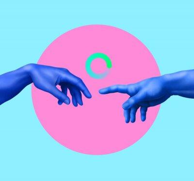 Papiers peints Creation of Adam. Contemporary art collage. Memphis style poster concept.