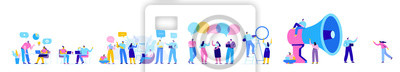 Papiers peints Creative team characters flat vector horizontal banner. Discussion people. Office workers life. Team thinking and brainstorming.  Flat vector illustration