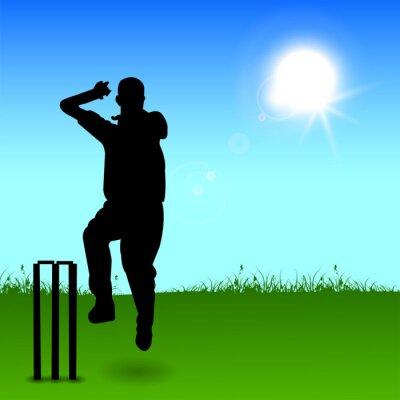 Cricket lanceur lancer de balle sur fond abstrait, des Sports conc
